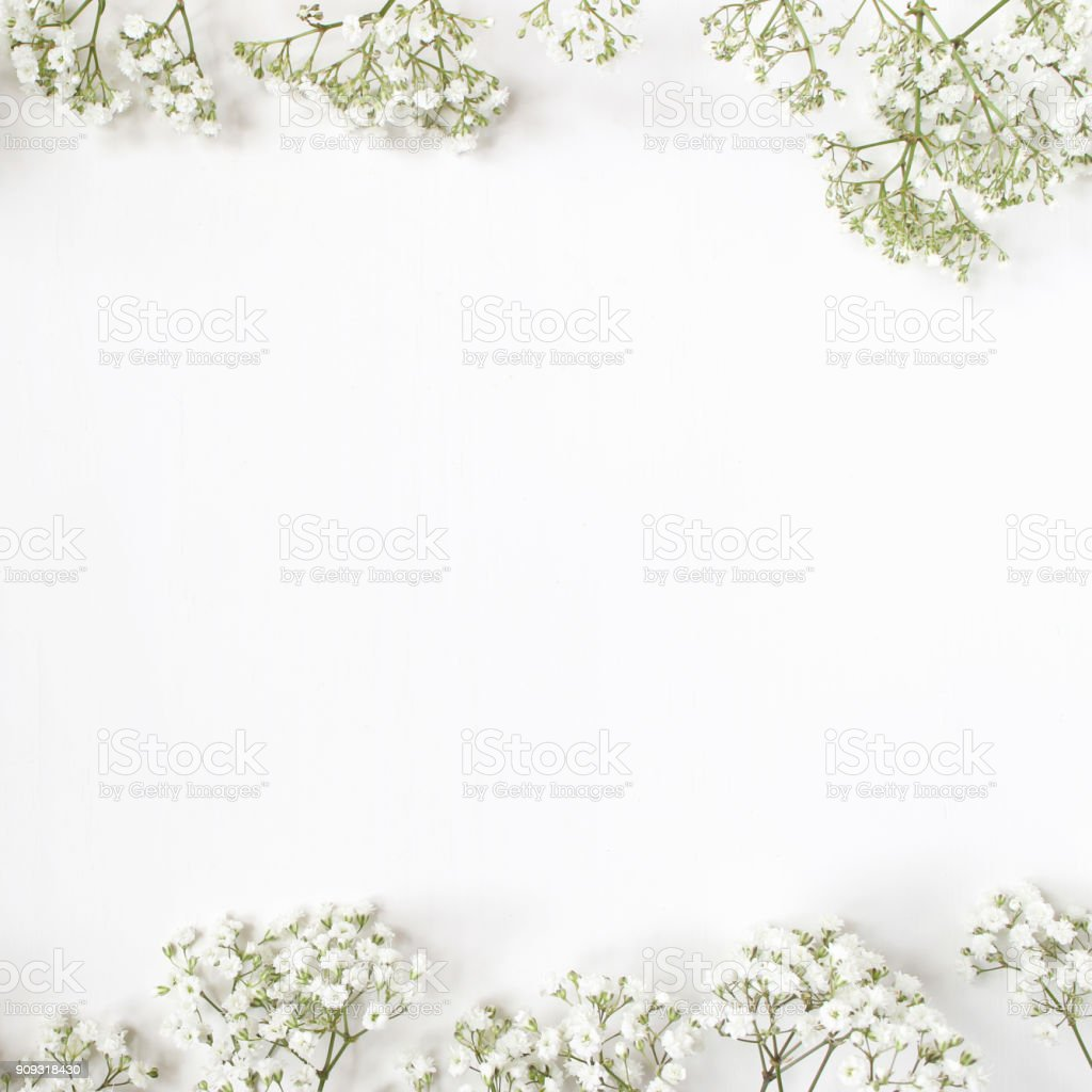 Styled stock photo. Feminine wedding desktop mockup with baby's breath Gypsophila flowers on white background. Empty space. Floral frame, web banner. Top view. Picture for blog or social media stock photo