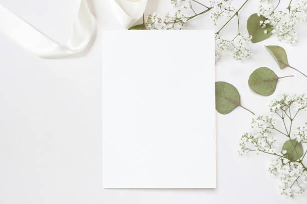 포토 스타일. 빈 인사말 카드, 아기의 숨 결 라든지 꽃, 여성 웨딩 데스크톱 편지지 이랑 마른 녹색 유칼립투스 잎, 새틴 리본과 흰색 배경. 빈 공간입니다. 최고의 볼 수 있습니다. 블로그에 대 한 사진입니다. - 초대장 뉴스 사진 이미지