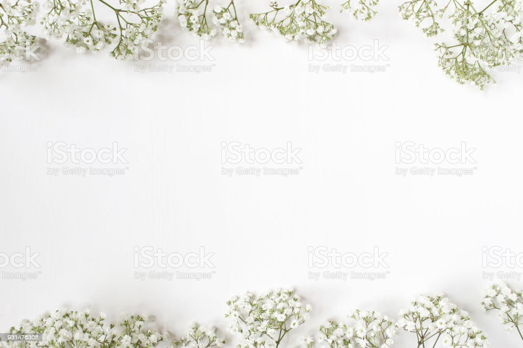 Styled stock photo. Feminine wedding desktop with baby's breath Gypsophila flowers on white background. Empty space. Floral frame, web banner. Top view. Picture for blog or social media stock photo