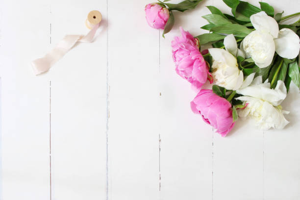 Styled stock photo. Feminine wedding or birthday table composition with floral bouquet. White and pink peonies flowers and spool of silk ribbon. White wooden background. Flat lay, top view. stock photo