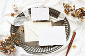 istock Styled stock photo. Winter, fall wedding, birthday table composition. Stationery mockup scene. Greeting cards, envelope, dry hydrangea flowers and calligraphy pen on silver tray. Flat lay, top view. 1127395944