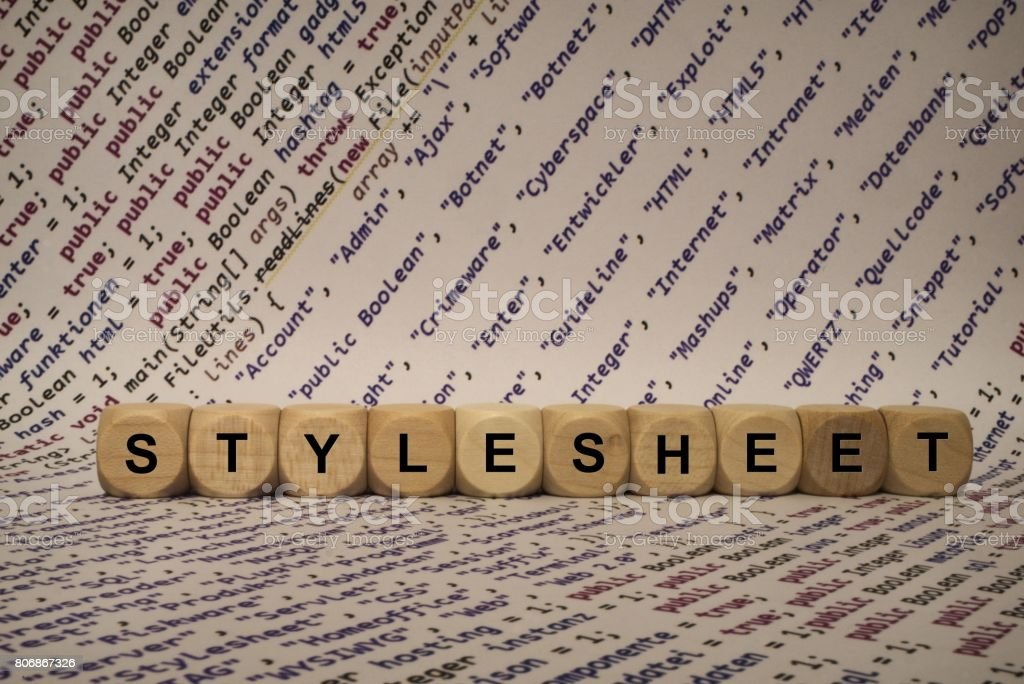 stylesheet - cube with letters and words from the computer, software, internet categories, wooden cubes stock photo