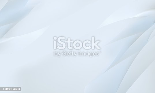 istock stylish abstract white simple swirl wavy background corporate business concept for presentation, printing, business cards, banner 3D Rendering, 3D Illustration 1188324631