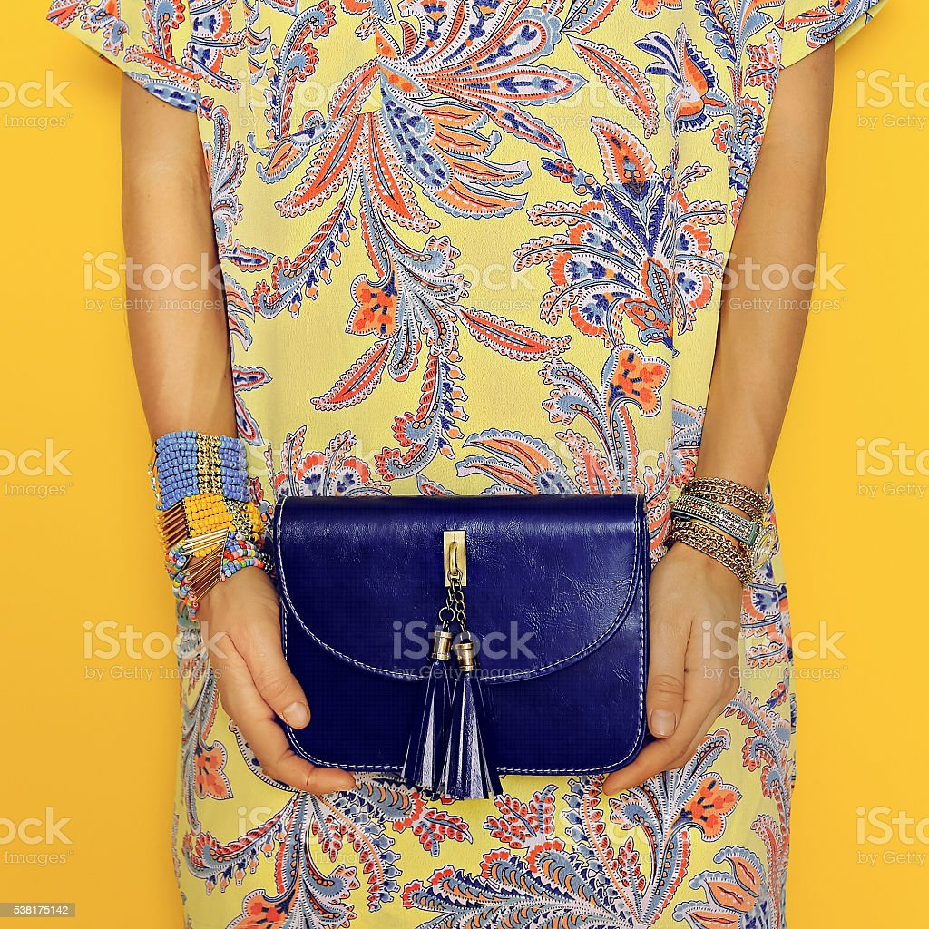 Stylish Accessories. Bag and Jewelry. Bright Summer Oriental Pri stock photo