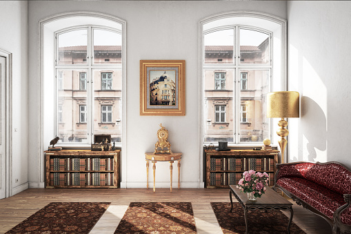 Digitally generated Scandinavian home interior interior scene with high quality classic/vintage furniture.  The scene was rendered with photorealistic shaders and lighting in Autodesk® 3ds Max 2016 with V-Ray 3.6 with some post-production added.