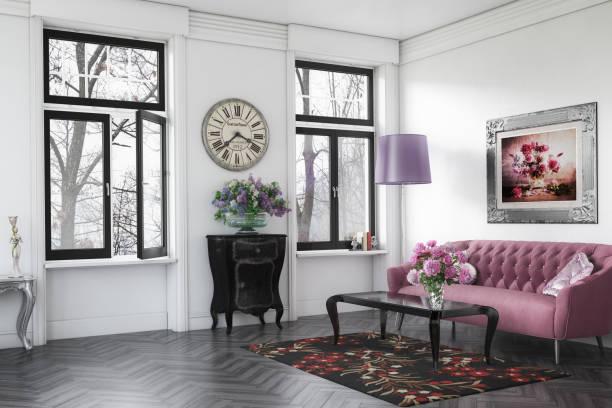 interior casa elegante y con clase - wall clock fotografías e imágenes de stock