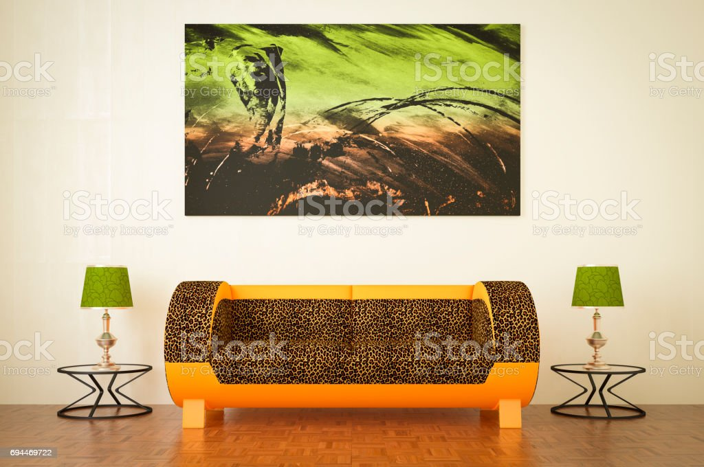 Stylish and Cozy Living Room stock photo