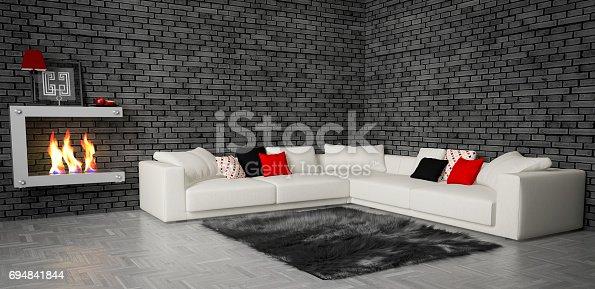 Digitally generated stylish and cozy living room interior with big corner sofa, modern fireplace and dark gray fur rug.