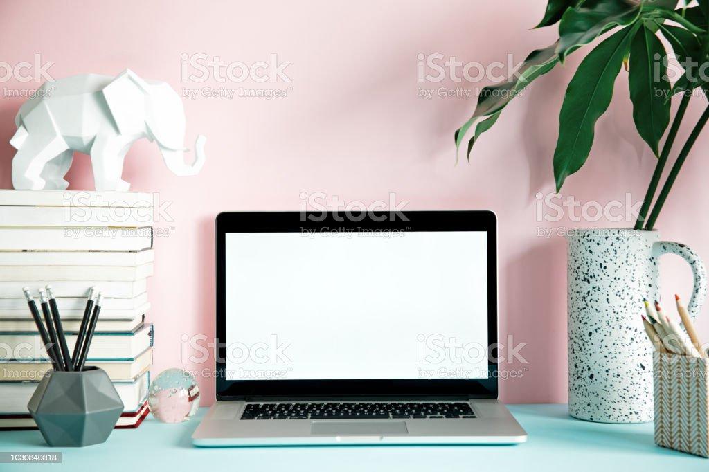 Stylish concept of creative desk.