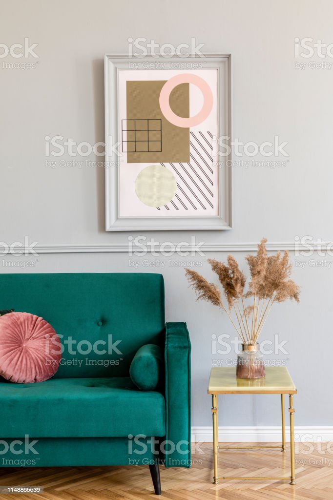 Picture of: Stylish And Elegant Living Room Of Apartment Interior With Green Velvet Sofa Gold Coffee Table Flowers And Chic Accessories Mock Up Paintings Frame On The Gray Wall Luxury Home Decor Stock Photo