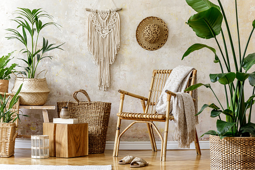 Stylish and floral composition of living room interior with rattan armchair, a lot of tropical plants in design pots, decoration and elegant personal accessories in cozy home decor. Wabi sabi concept.