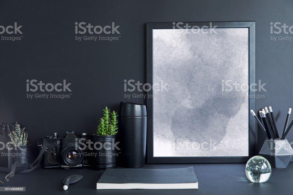 Photo de stock de bureau élégant et minimaliste avec maquettes