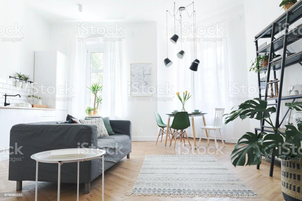 Stilvolle Und Moderne Freifläche Mit Ess Und Wohnzimmer Mit Sofa Und ...
