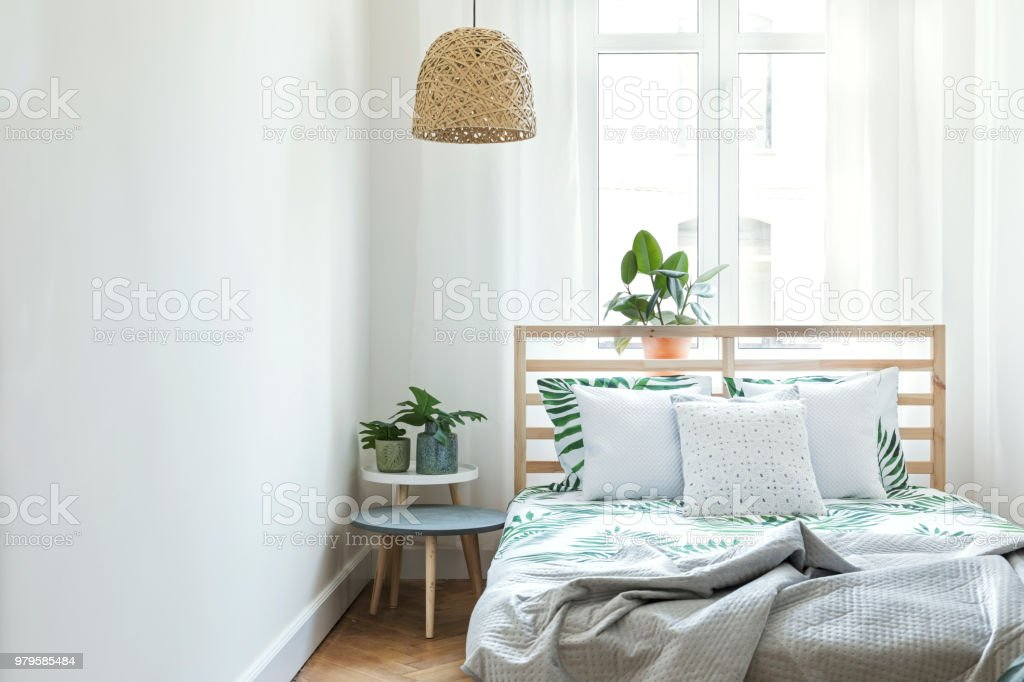 Stylish and modern scandinavian bedroom.