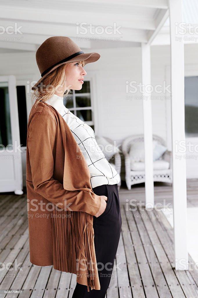 Stylish and posing model stock photo