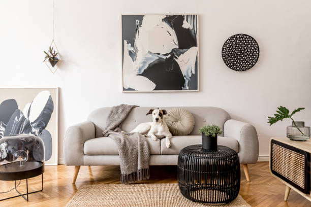 Stylish and scandinavian living room interior of modern apartment with gray sofa, design wooden commode, black table, lamp, abstrac paintings on the wall. Beautiful dog lying on the couch. Home decor. stock photo