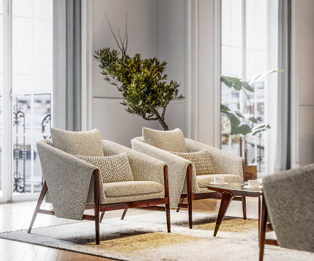 3d render of a stylish armchairs in brightly lit living room. Artistic chairs in enterance hall of an apartment, computer generated image.