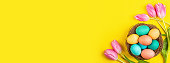 Stylish background with colorful easter eggs isolated on yellow background with pink tulip flowers. Flat lay, top view, mockup, overhead, template.