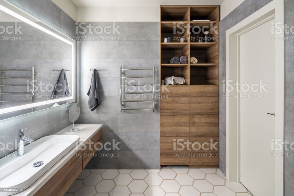 Stylish bathroom in modern style stock photo