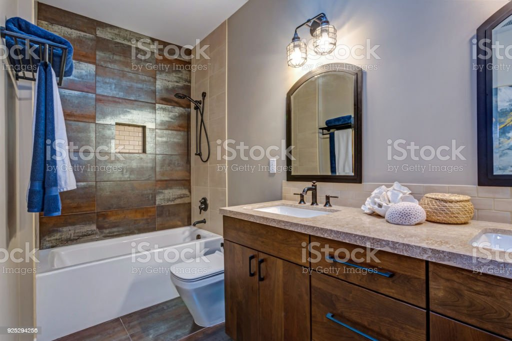 Stylish Bathroom Interior With Double Vanity Cabinet Stock Photo Download Image Now Istock