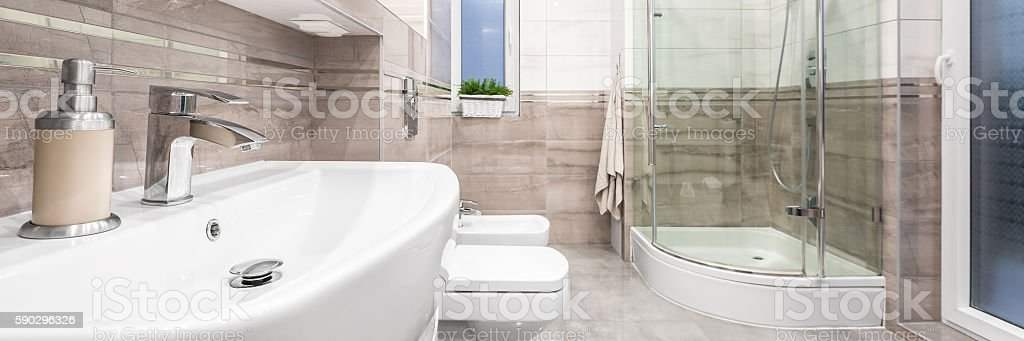 Stylish bathroom with classical details royaltyfri bildbanksbilder