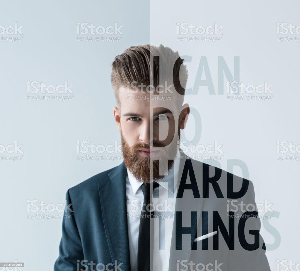 Stylish bearded businessman stock photo