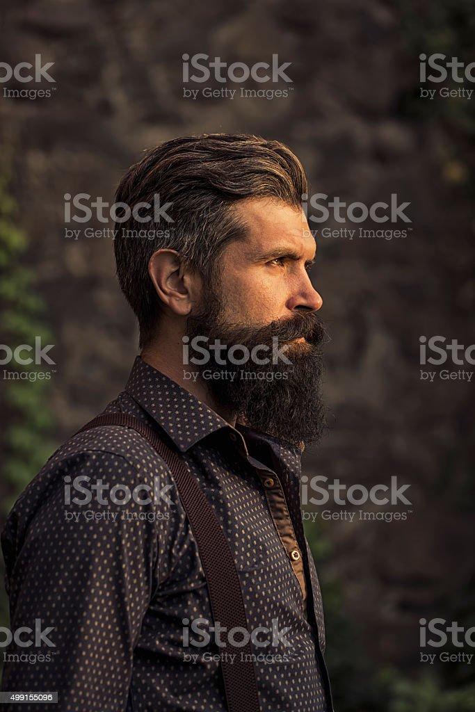 Stylish bearded man outdoor stock photo
