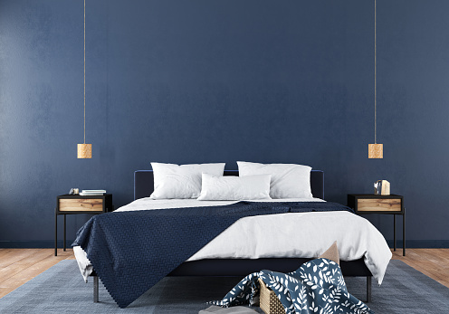 Modern bedroom interior with a stylish combination of trendy blue and light wood texture / 3D illustration, 3d render