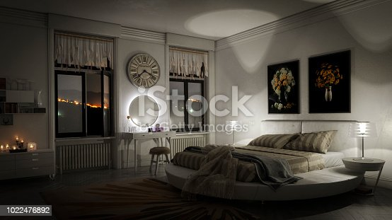 Digitally generated luxurious domestic bedroom interior (night scene).  The scene was rendered with photorealistic shaders and lighting in Autodesk® 3ds Max 2016 with V-Ray 3.6 with some post-production added.
