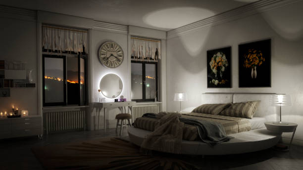 stylish bedroom interior - low lighting stock photos and pictures