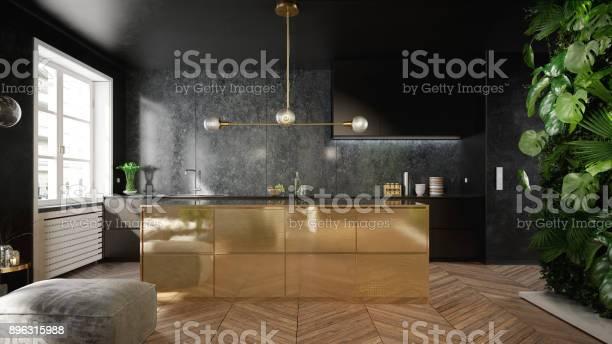 Stylish black and gold kitchen interior picture id896315988?b=1&k=6&m=896315988&s=612x612&h=ywvwohnnfimdiyfbpcffbtd equsfikzeebzwv3uidw=