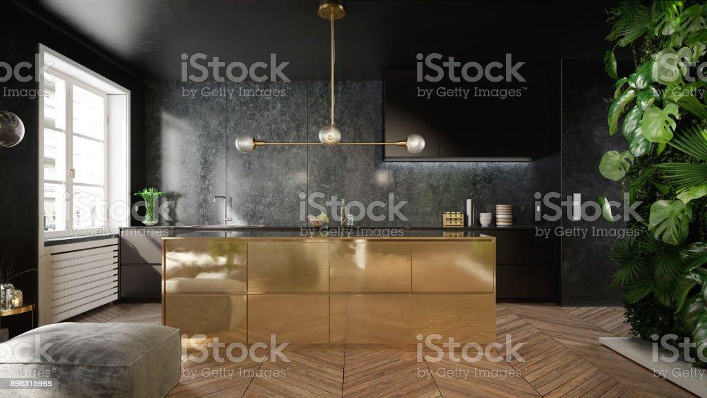 スタイリッシュな黒とゴールドのキッチン インテリア ストックフォト