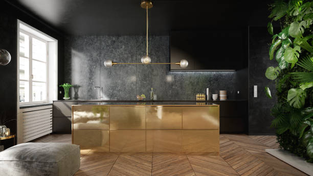 Stylish black and gold kitchen interior stock photo