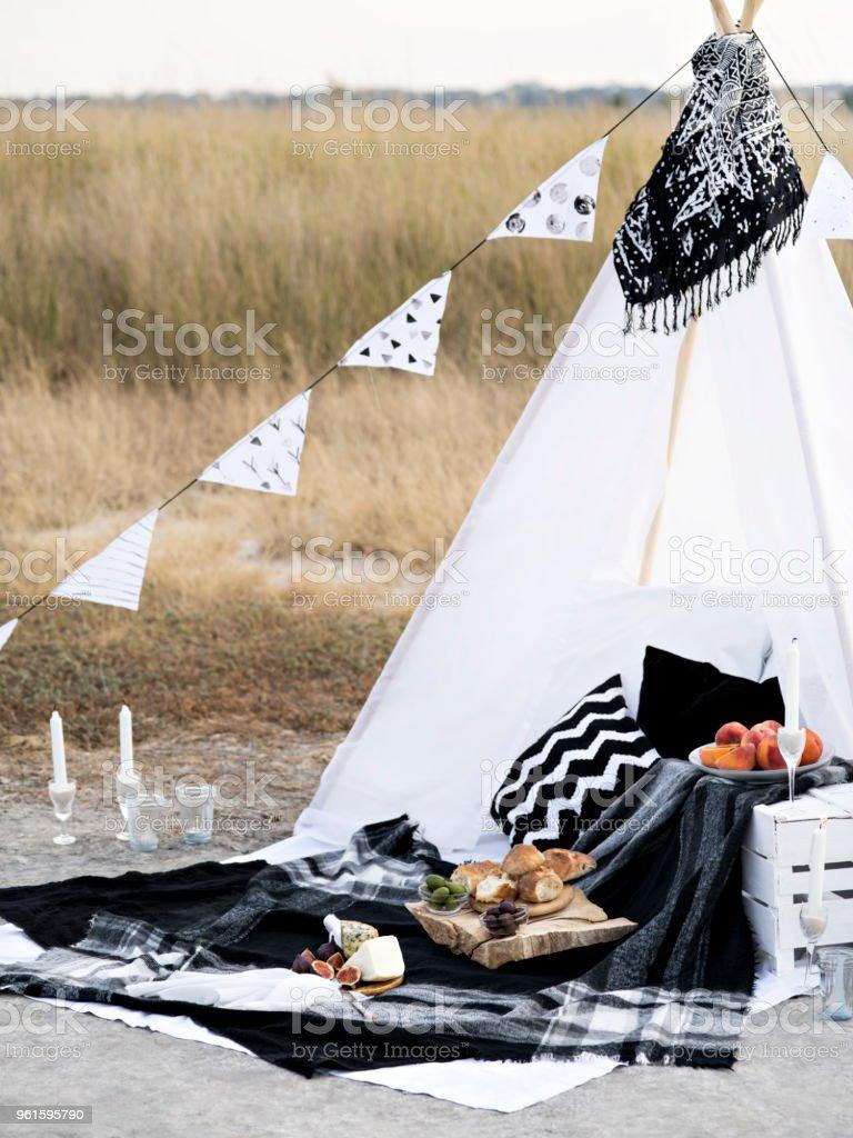 Stylish black and white picnic. stock photo