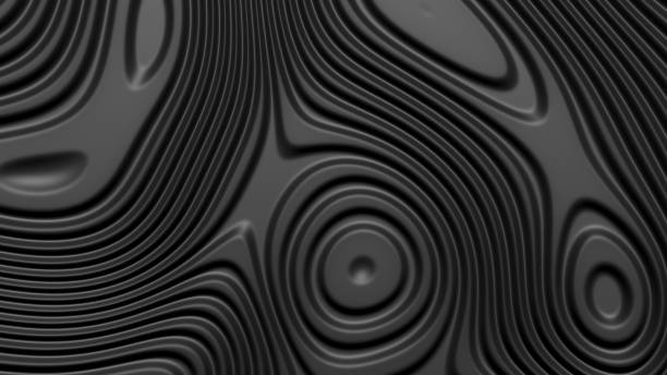 Stylish black colored background with flowing lines. Abstract topographic map contour background. Black stripe pattern background. Smoothly illuminated plastic texture, 3d render illustration. stock photo