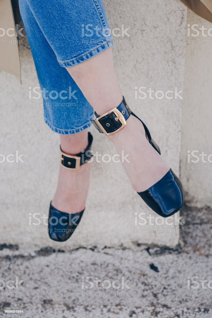 4133fabcf5a Stylish Blogger Wearing Black Ankle Strap High Heel Sandal Shoes And ...