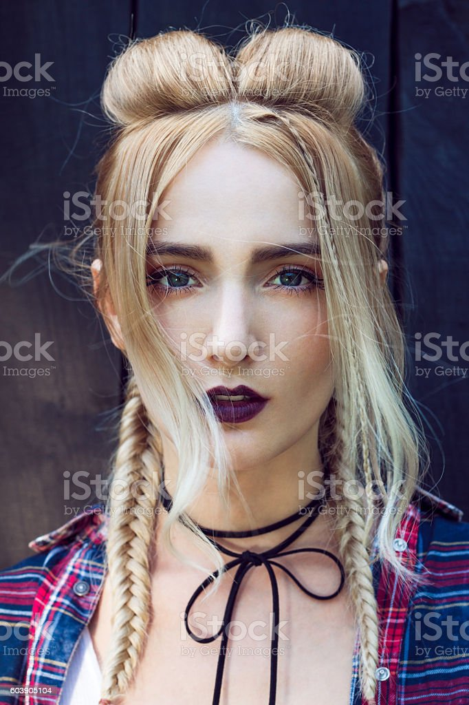 Stylish braided hair stock photo