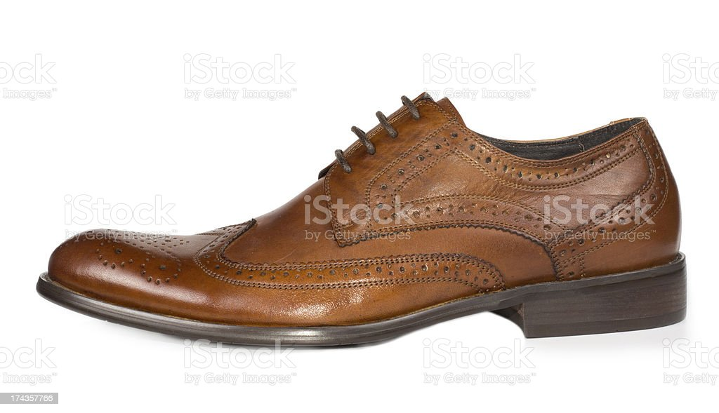 Stylish brown leather mens lace up shoe stock photo