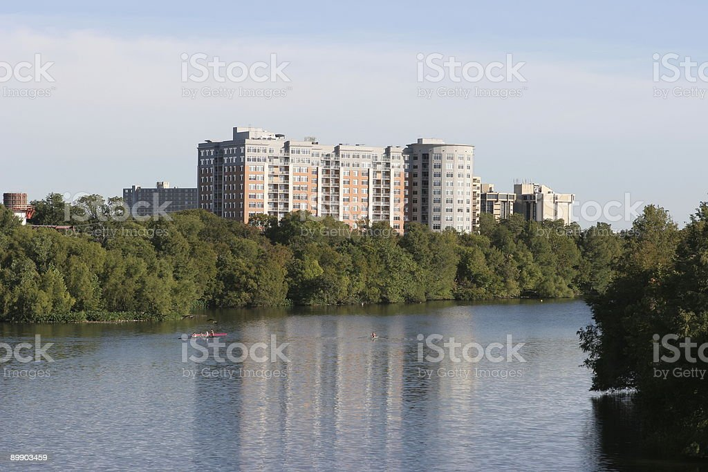 Stylish buildings by Town Lake in Austin, Texas royalty-free stock photo