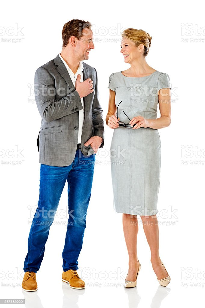 Stylish business colleagues discussing on white stock photo