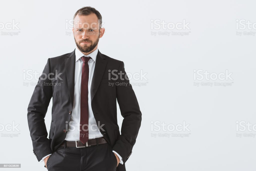 stylish businessman in suit stock photo