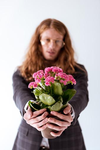 곱슬 머리는 흰색 절연 화분에 심는 분홍색 꽃을 보여주는 세련 된 사업 경영자에 대한 스톡 사진 및 기타 이미지