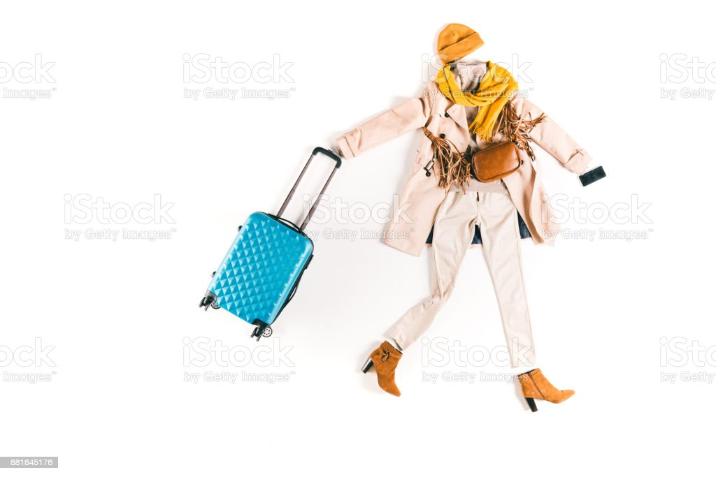 stylish clothes and suitcase stock photo