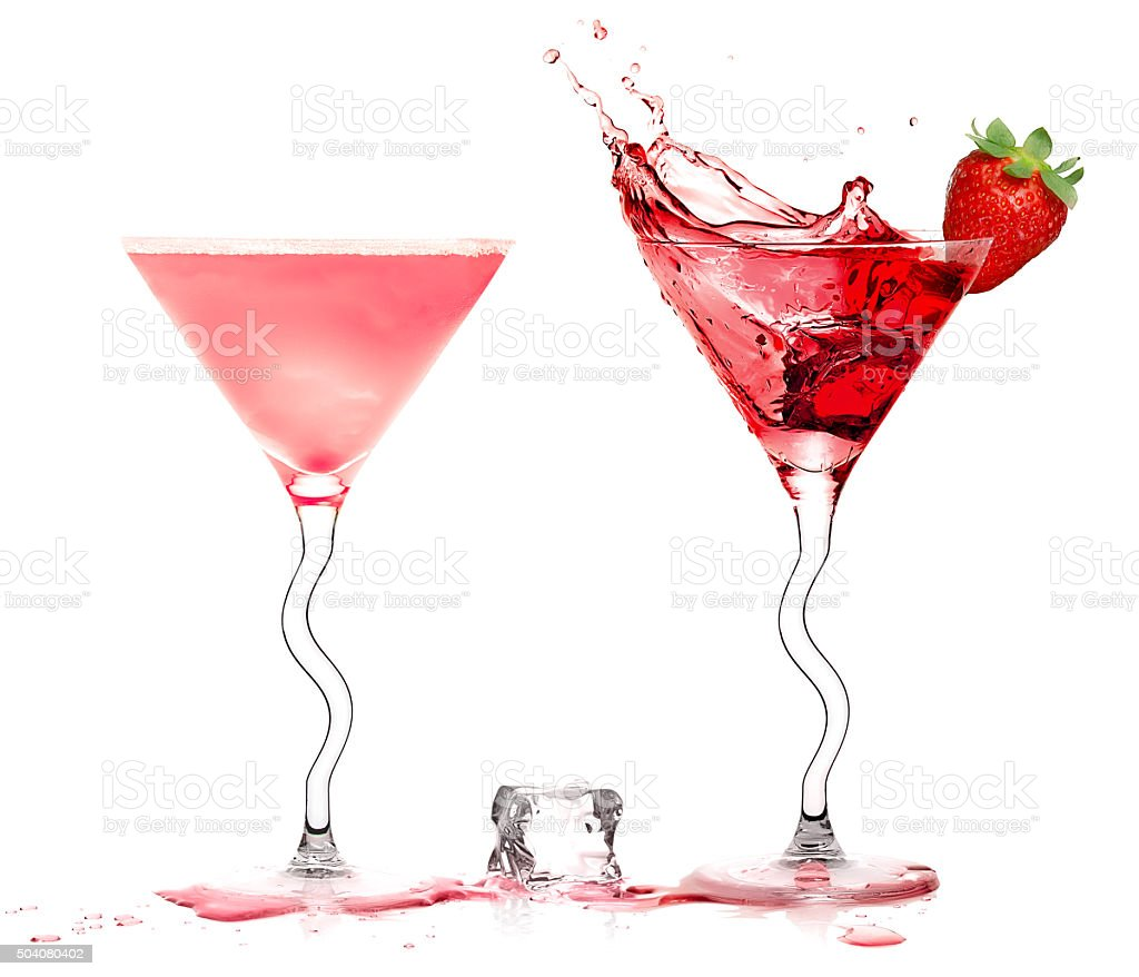 Stylish Cocktail Glasses with Strawberry Liquor Splashing isolated on white stock photo