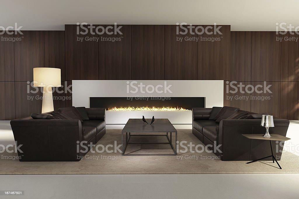 Eleganti interni moderni con camino bianco fotografie for Interni moderni foto