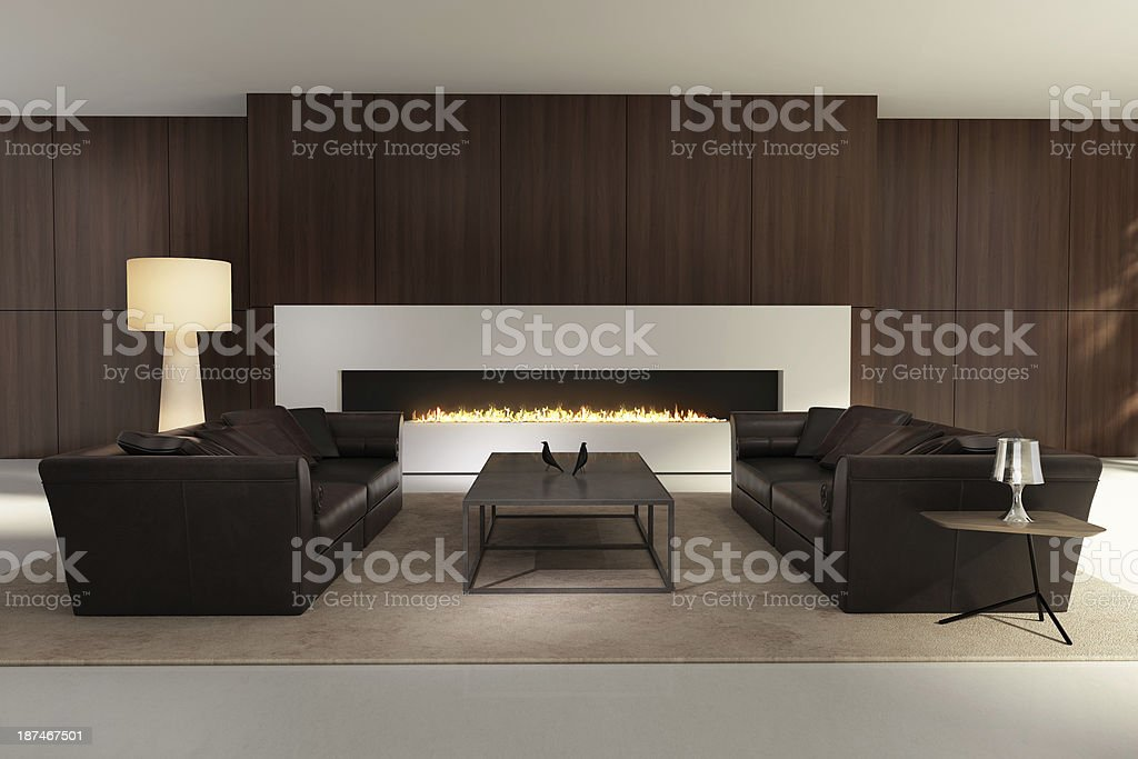 Stylish contemporary interior, with a white fireplace stock photo