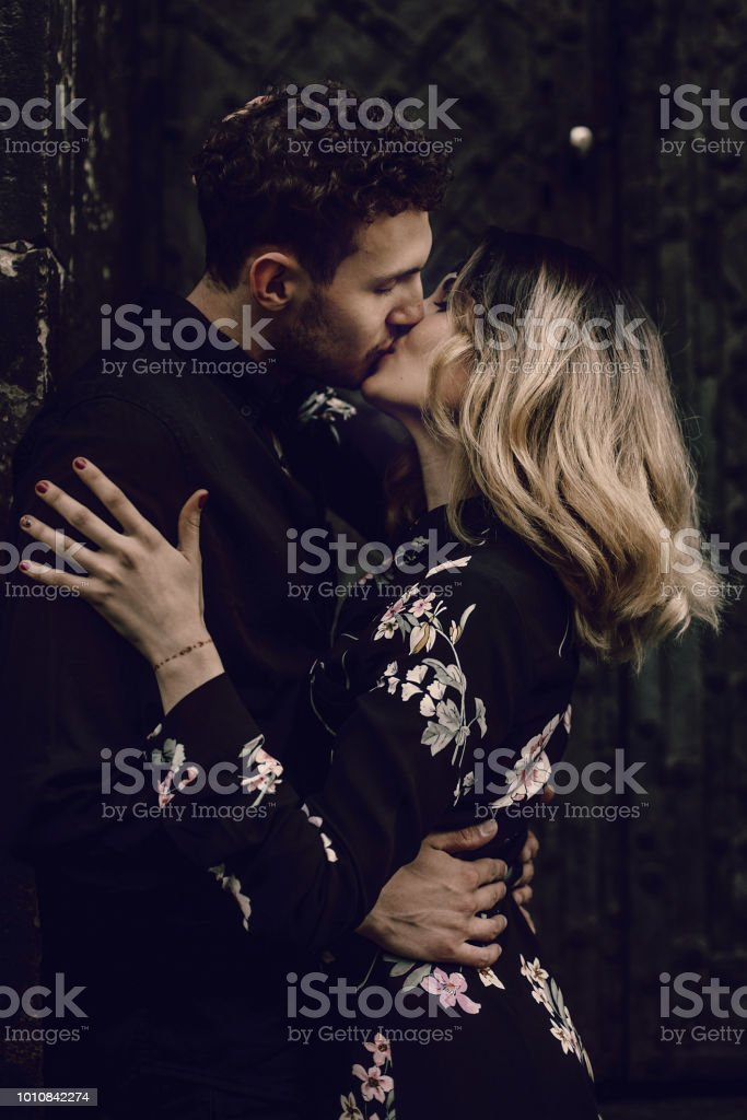 Stylish Couple In Love Kissing In Evening City Street Modern