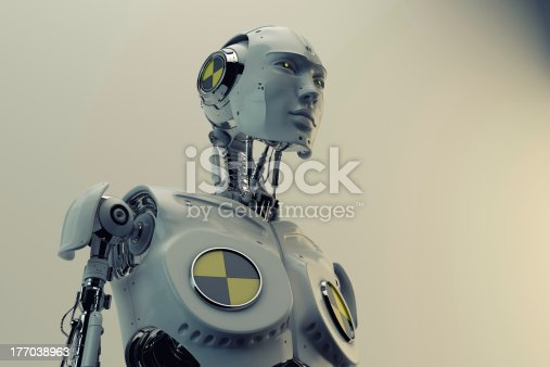 istock Stylish cyborg with danger sign 177038963