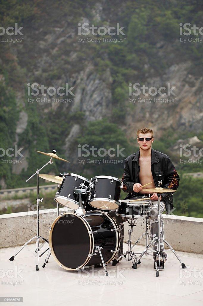 stylish drummer stock photo