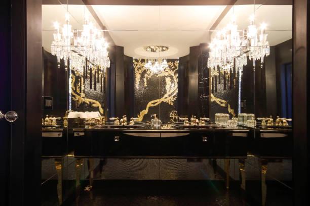 Stylish Elegance Bathroom Mirror and Black Makeup Table